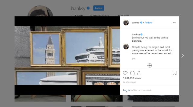 バンクシー、ヴェネツィアの美術展覧会にゲリラ参加するも警察に追い出されてしまう / 作品はクルーズ船による環境汚染問題についてのメッセージか?