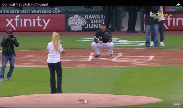 【放送事故寸前】ある意味「ストライク」な始球式がメジャーリーグで炸裂