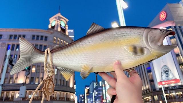 どう見ても鮭な「バッグ」で銀座を歩いてみた → 高級バッグに見劣りしないインパクトで視線を集めまくり / 本物の鮭も食べてみたヨ
