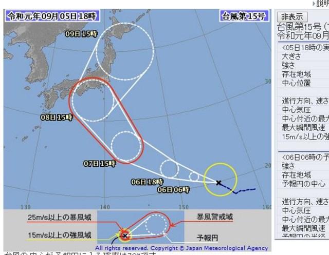 【アカン】台風15号「ファクサイ」さん、エグめな急カーブで本州を削り取らんとす / 接近・上陸の恐れも…!