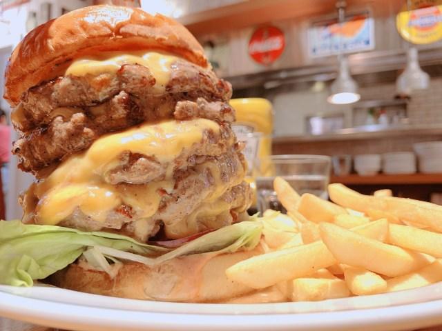 【デカ盛り】デカさ怪物級の「モンスターチーズバーガー」を食べてみた! アメリカンハウスダイナー・港山下店