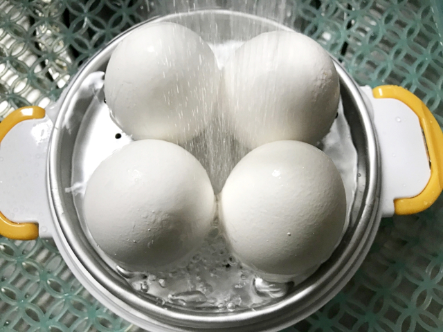 「レンジでらくチン ゆでたまご」に卵を乗せた写真