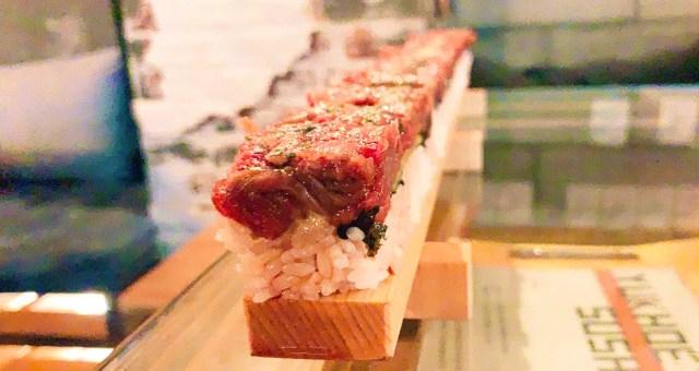 全長50cmの超ロング「ユッケ寿司」を食べてみた! 『PALLET46』新大久保店