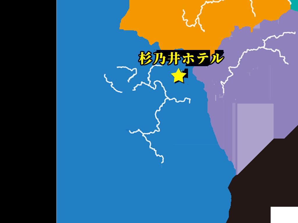 「杉乃井ホテル」(大分)の位置