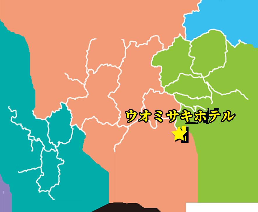 「ウオミサキホテル」(静岡)の位置