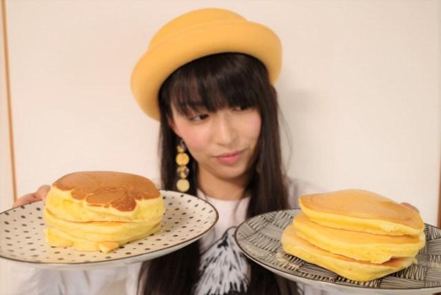 """【森永公式レシピ】同じパンケーキ粉を使っているのに、アレをアレにするだけでホットケーキの食感が変わるってよ!  """"ふわふわ"""" でも """"もちもち"""" でも自由自在!!"""