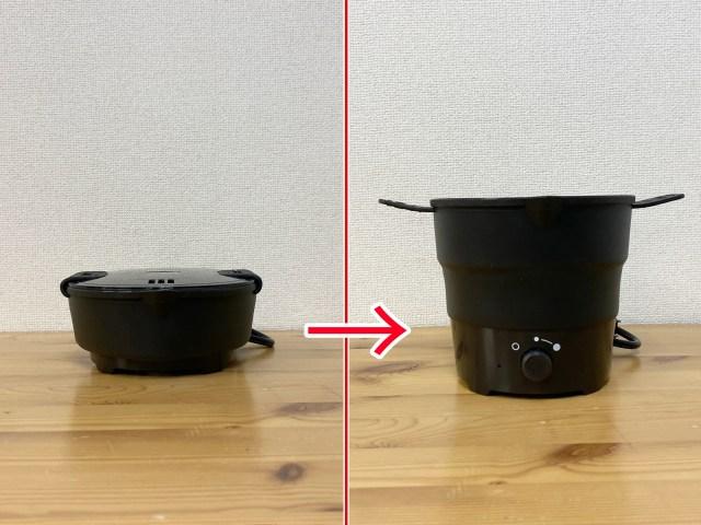 【ナベ革命】 職場のデスクでグツグツ煮れるだと…?『おひとりさま用 折りたたみラーメン鍋』がマジ優秀!! ただし「商品名で損してる感」は否めない